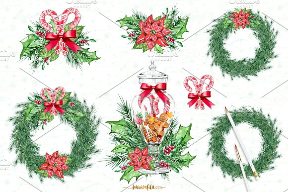 Traditional christmas clip art image library library Traditional Christmas Clipart ~ Illustrations on Creative Market image library library