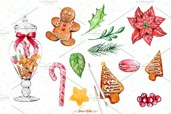Traditional christmas clip art banner freeuse library Traditional Christmas Clipart ~ Illustrations on Creative Market banner freeuse library