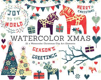 Traditional christmas decoration clipart picture freeuse stock Watercolor Christmas Decoration Clip Art. Traditional Nordic Folk ... picture freeuse stock