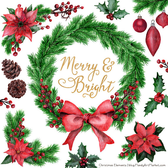 Traditional christmas images clipart clipart free stock Watercolor Christmas Clipart - Christmas Wreath, Pine Wreath ... clipart free stock