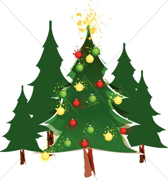 Traditional christmas images clipart picture royalty free Decorated Christmas Tree in Forest | Traditional Christmas ... picture royalty free
