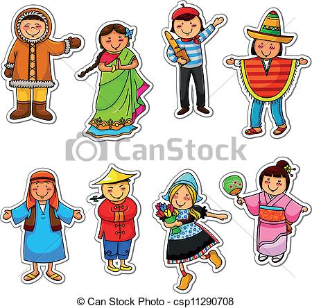 Traditional clipart graphic download Vector Clipart of ethnic diversity - kids in different traditional ... graphic download