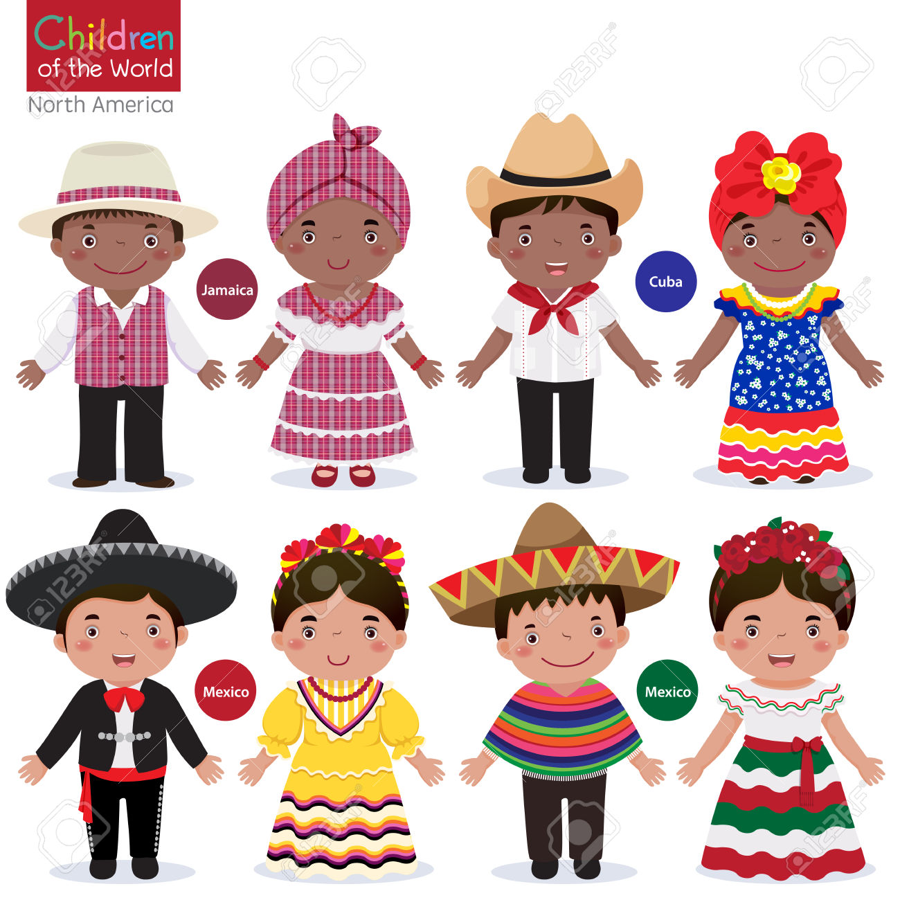 Traditional costumes clipart clip art black and white download Kids In Different Traditional Costumes Jamaica, Cuba, Mexico ... clip art black and white download