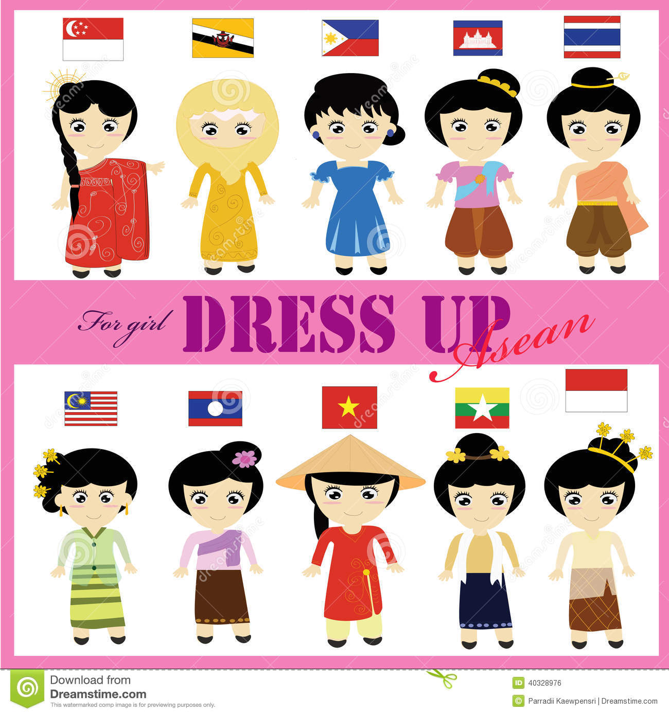 Traditional costumes clipart clip freeuse stock ASEAN Traditional Dress For Girl AEC Stock Illustration - Image ... clip freeuse stock
