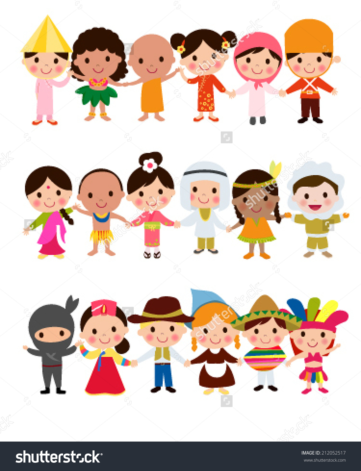 Traditional costumes clipart png transparent stock Happy World Kids Set Multicultural Traditional Stock Vector ... png transparent stock