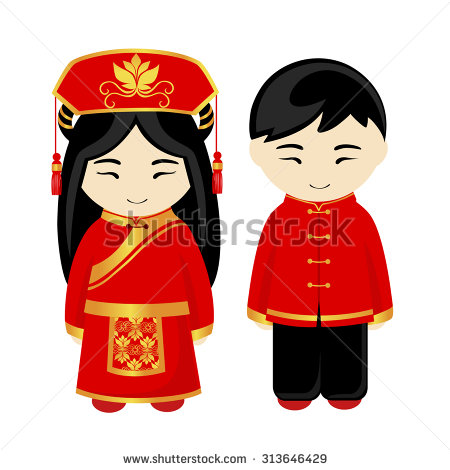 Traditional costumes clipart picture black and white stock Chinese costume clipart - ClipartFest picture black and white stock