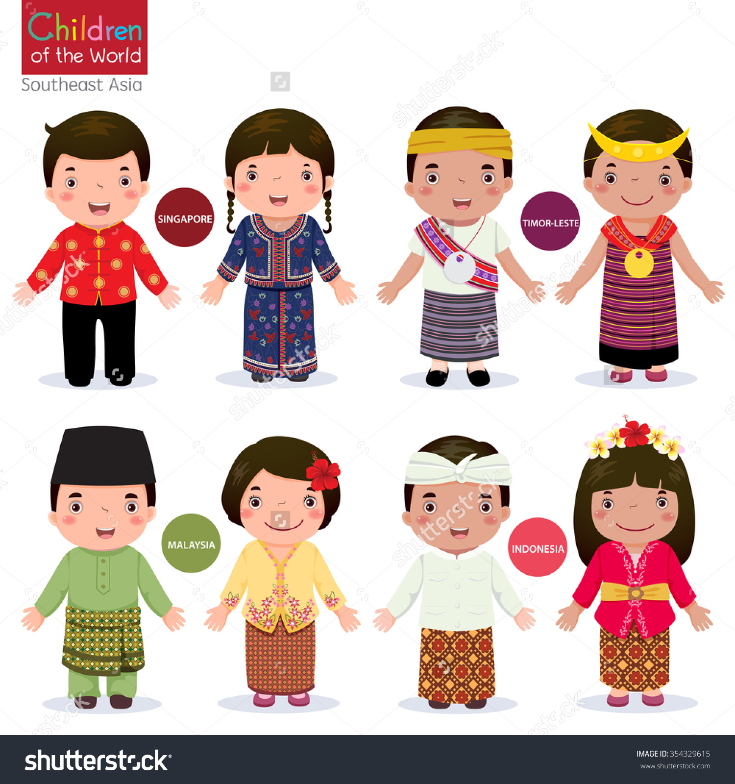 Traditional costumes clipart clip art Kids Traditional Costume Singapore Malaysia Timorleste Stock ... clip art