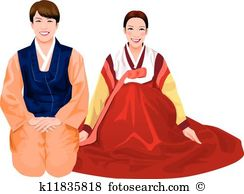Traditional dress clipart clip black and white stock Korean traditional dress Clip Art Royalty Free. 256 korean ... clip black and white stock