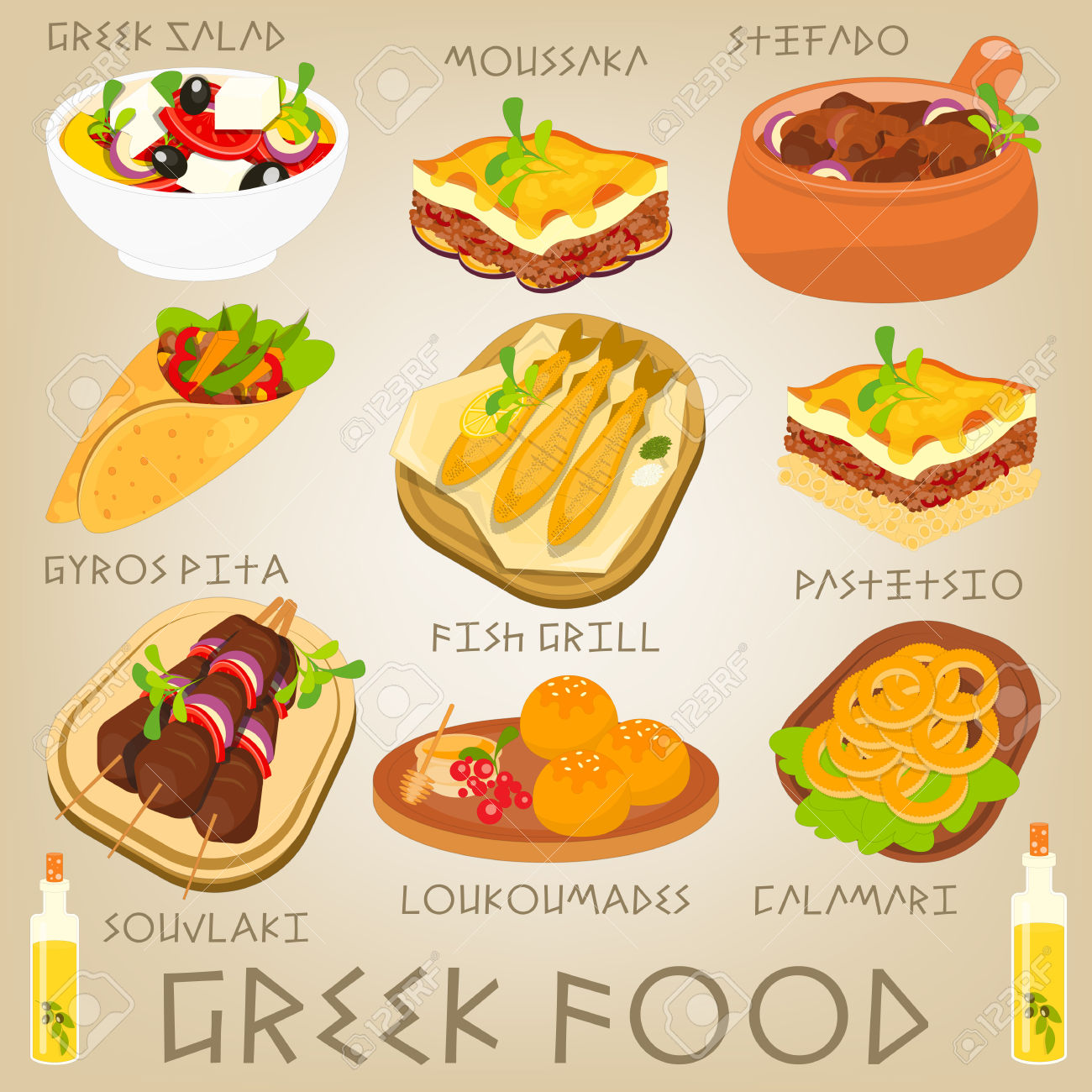 Traditional food clipart jpg download Greek Traditional Food Set. Greek Cuisine. Food Collection. Vector ... jpg download