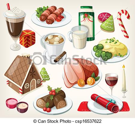 Traditional food clipart image royalty free download Clip Art of Set of traditional christmas food and desserts ... image royalty free download