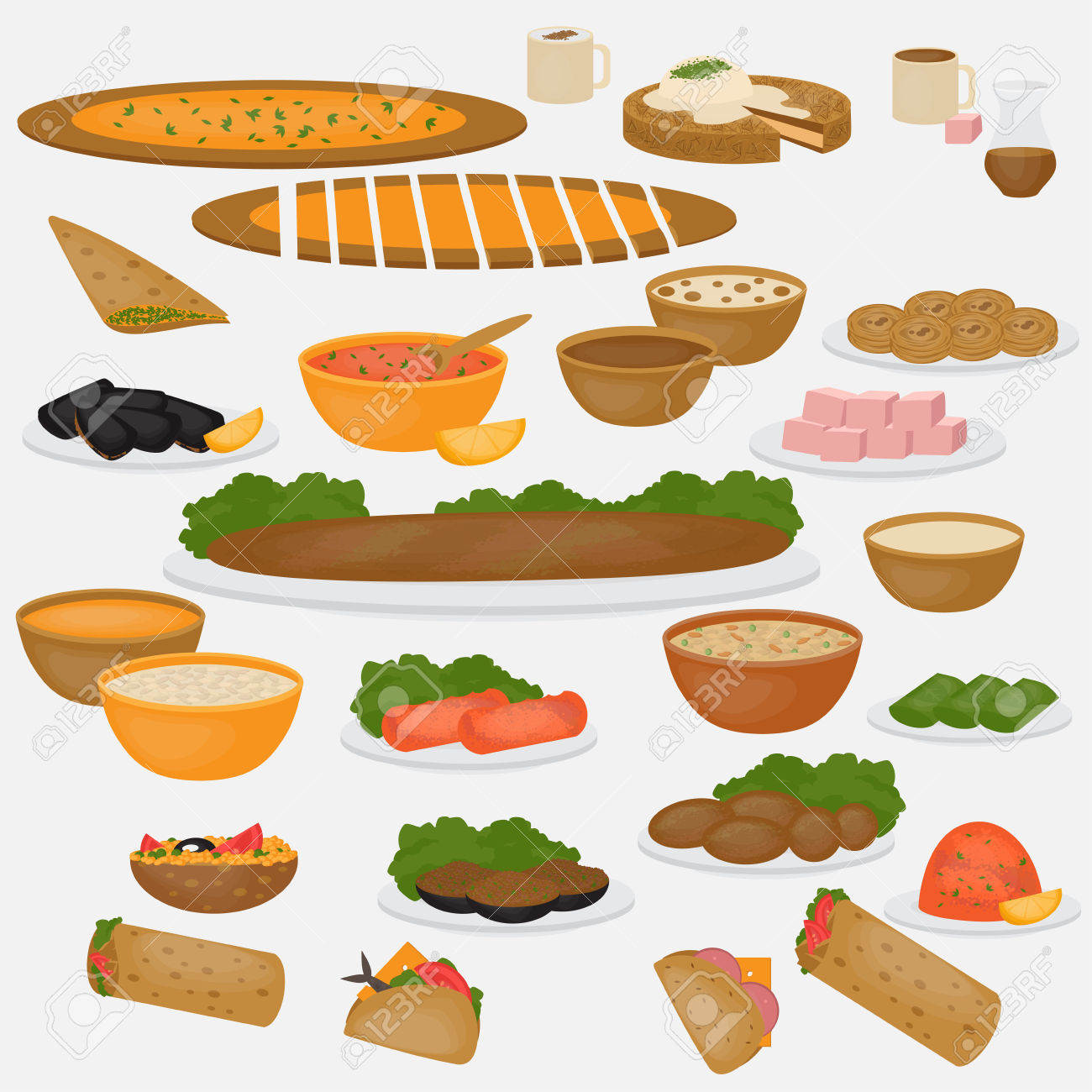 Traditional food clipart graphic royalty free download 638 Ramadan Food Stock Vector Illustration And Royalty Free ... graphic royalty free download