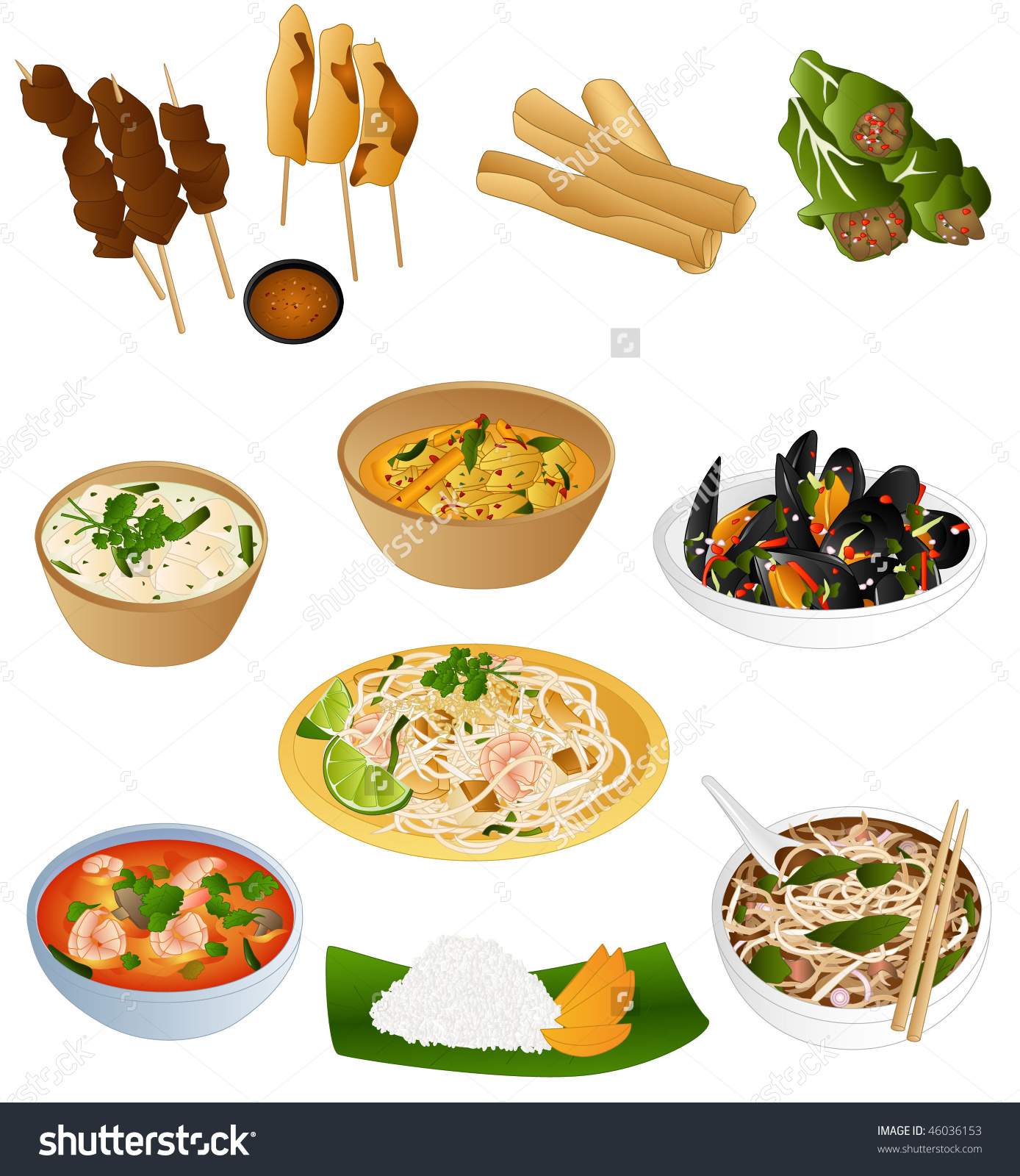 Traditional food clipart picture free download South East Asian Prepared Food Stock Vector 46036153 - Shutterstock picture free download
