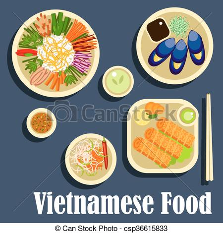 Traditional food clipart svg transparent stock Vectors of Traditional dishes of vietnamese cuisine flat icon ... svg transparent stock