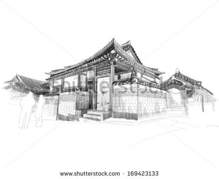 Traditional house blessing clipart clipart black and white Korea Traditional House Stock Images, Royalty-Free Images ... clipart black and white