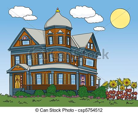 Traditional house clipart clip art library download Vector Illustration of Summer Victorian House - Victorian house in ... clip art library download