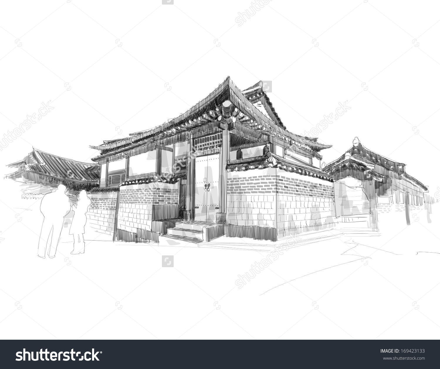 Traditional house clipart clip art black and white stock Vector Sketching Korean Traditional House Hanok Stock Vector ... clip art black and white stock
