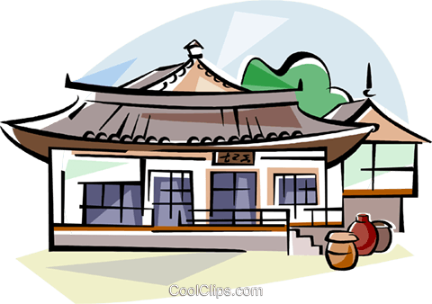 Traditional house clipart image freeuse download Korea Traditional Korean house Royalty Free Vector Clip Art ... image freeuse download