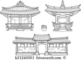 Traditional house clipart svg freeuse stock Korean traditional house Clip Art and Illustration. 66 korean ... svg freeuse stock