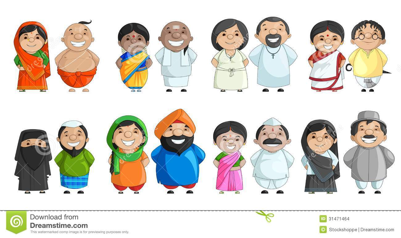 Traditional indian family clipart banner library library Indian traditional dress clipart - ClipartFest banner library library