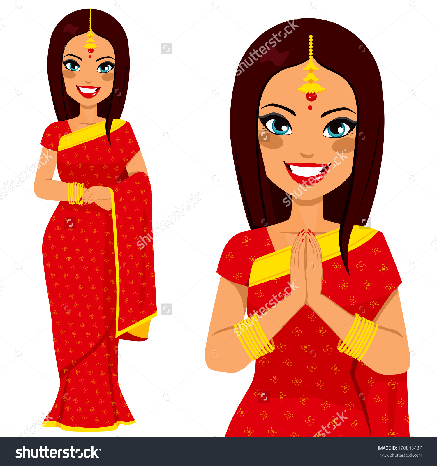 Traditional indian family clipart clip art black and white Traditional Indian Woman Holding Hands Prayer Stock Vector ... clip art black and white