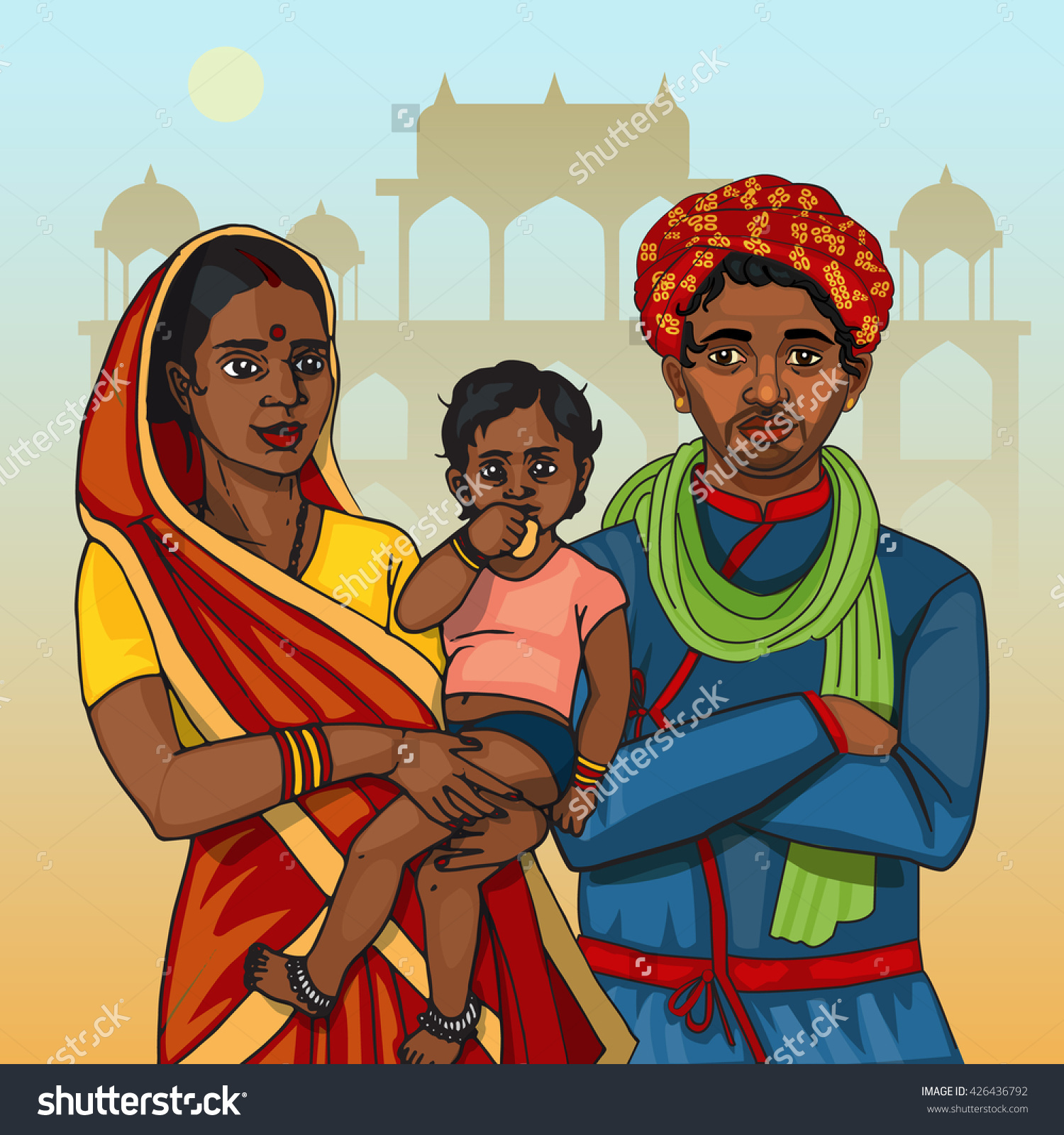 Traditional indian family clipart clipart free download Indian Family Father Mother Holding Child Stock Vector 426436792 ... clipart free download