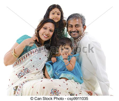 Traditional indian family clipart banner black and white Stock Images of Happy traditional Indian family - Happy Indian ... banner black and white