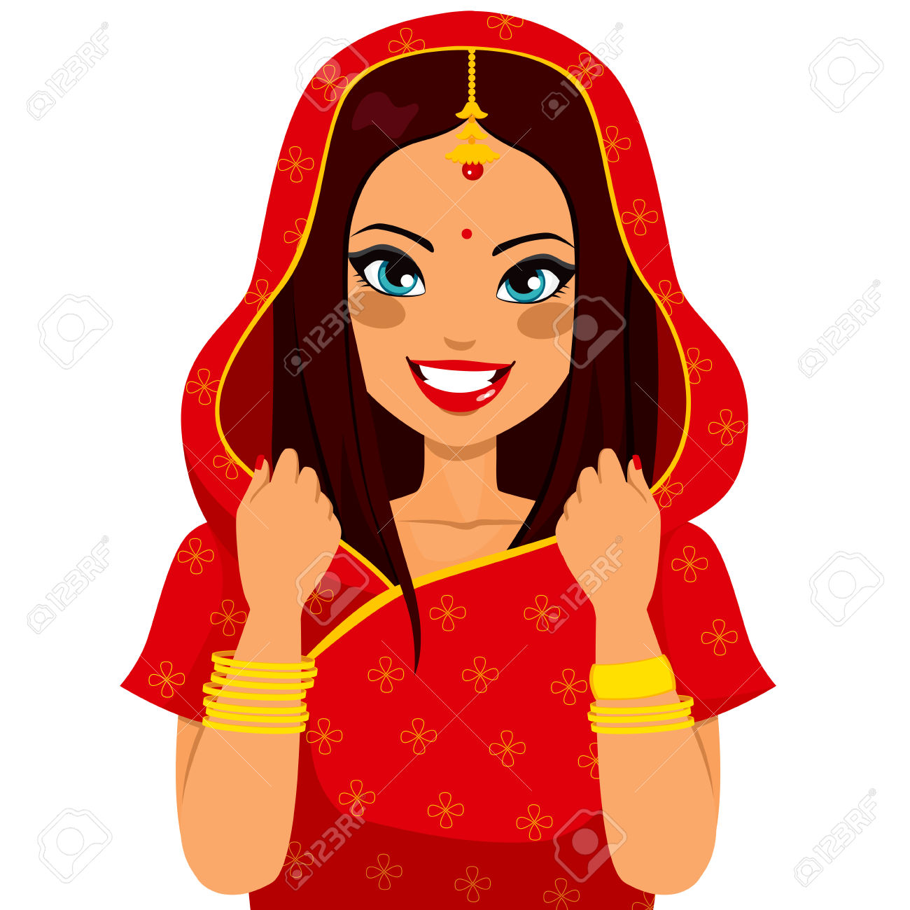 Traditional indian lady clipart banner freeuse library Beautiful Brunette Indian Woman Smiling Happy With Traditional ... banner freeuse library