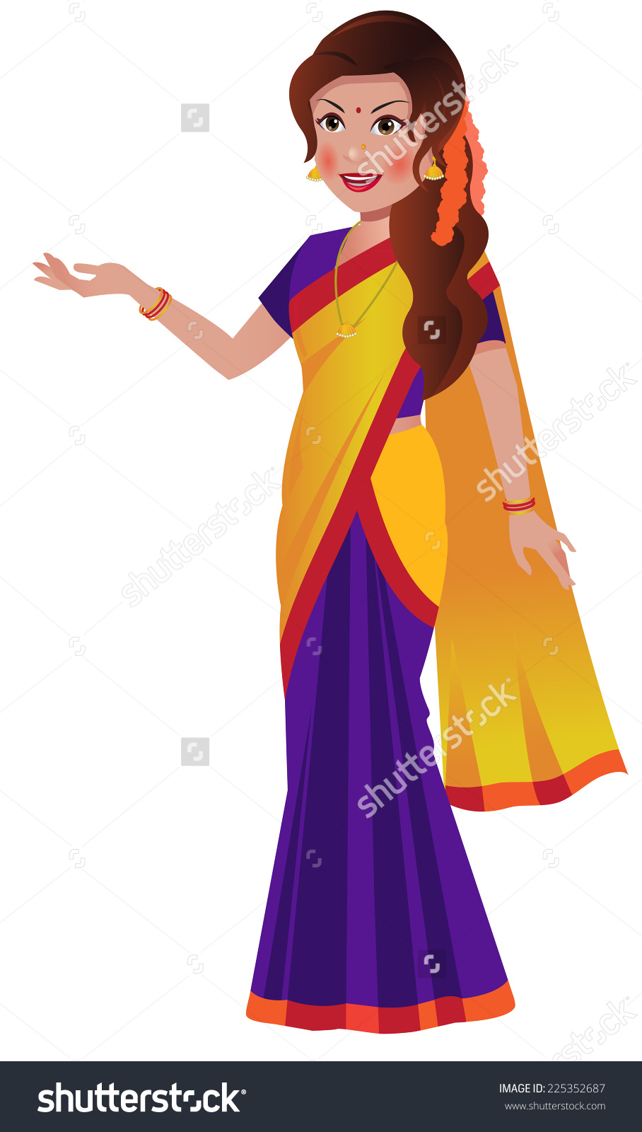 Traditional indian lady clipart graphic free South indian girl clipart - ClipartFox graphic free