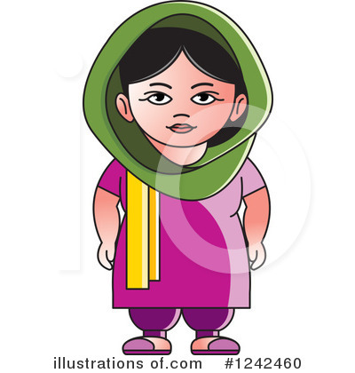 Traditional indian lady clipart svg black and white download Indian Woman Clipart #1242460 - Illustration by Lal Perera svg black and white download