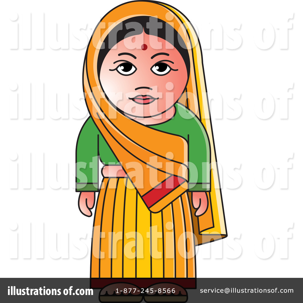 Traditional indian lady clipart image black and white library Indian Woman Clipart #1242464 - Illustration by Lal Perera image black and white library