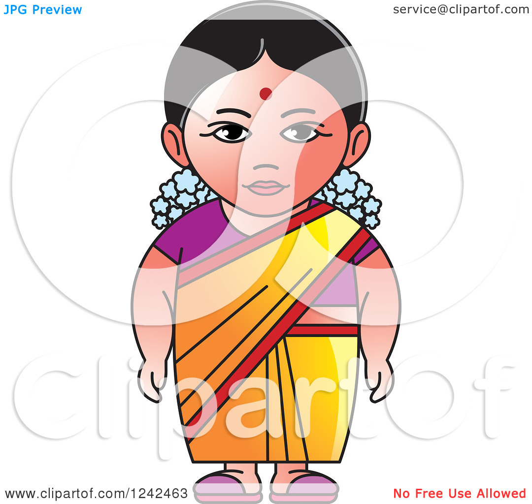 Traditional indian lady clipart black and white stock Clipart of an Indian Lady 2 - Royalty Free Vector Illustration by ... black and white stock