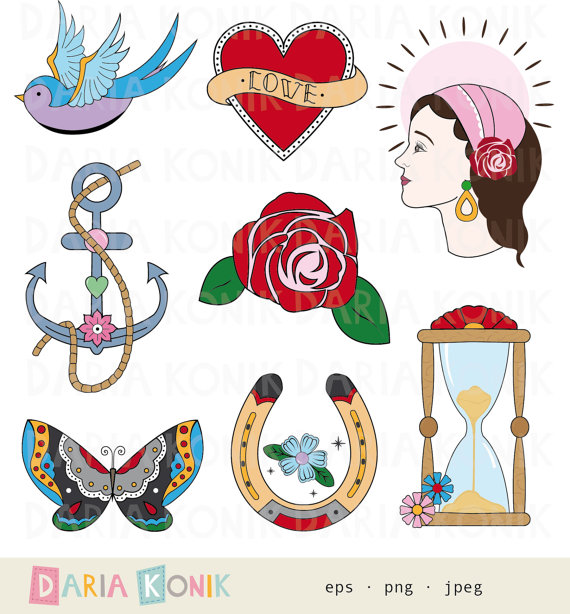 Traditional tattoo clipart clip download Tattoo Clip Art Set-traditional tattoo inspired rose clip download
