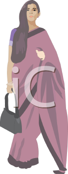 Traditional woman clipart graphic free library Traditional Indian Woman Wearing a Sari - Royalty Free Clipart Picture graphic free library