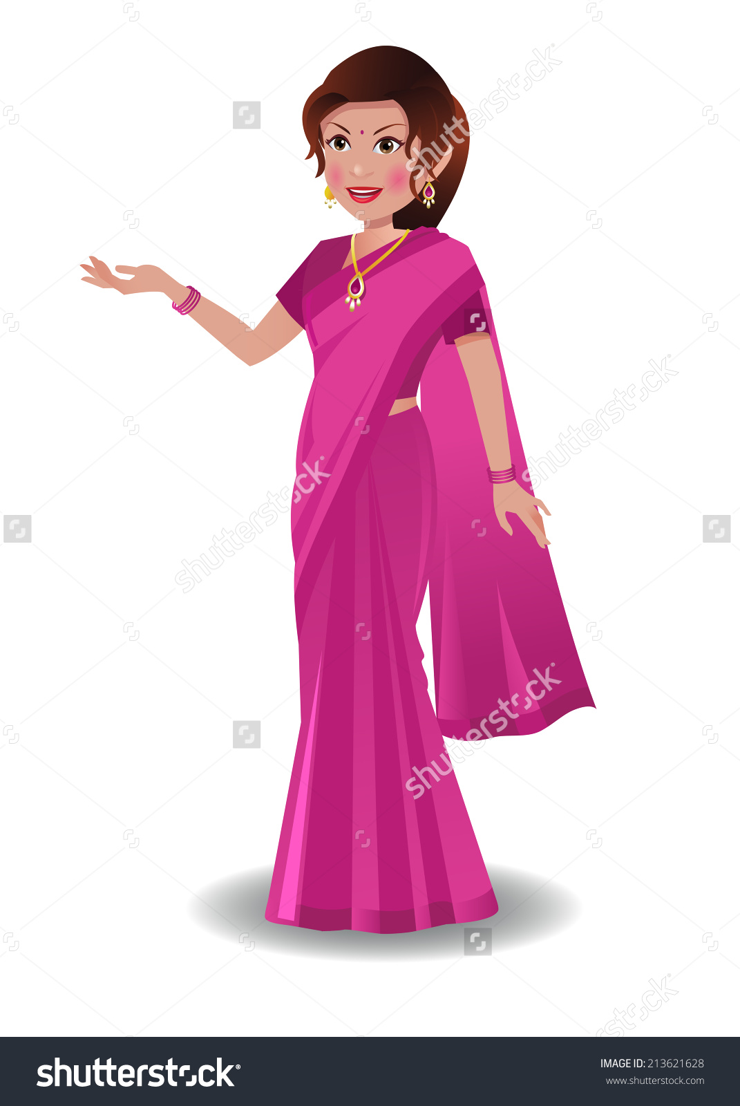 Traditional woman clipart clip black and white library Indian Woman Traditional Indian Saree Stock Vector 213621628 ... clip black and white library