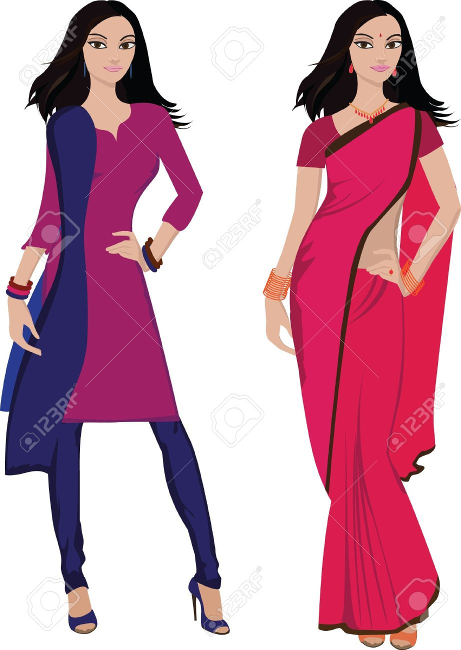 Traditional woman clipart clipart black and white stock Traditional indian lady clipart - ClipartFest clipart black and white stock