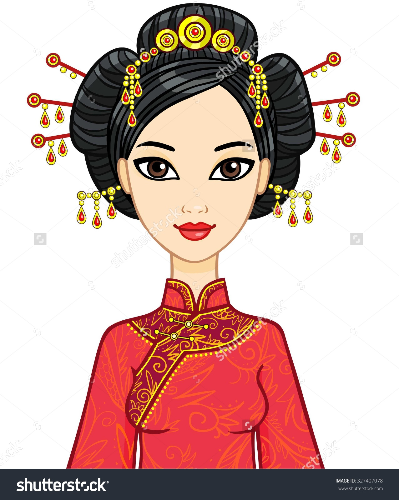 Traditional woman clipart png transparent download Animation Portrait Chinese Girl Traditional Clothes Stock Vector ... png transparent download