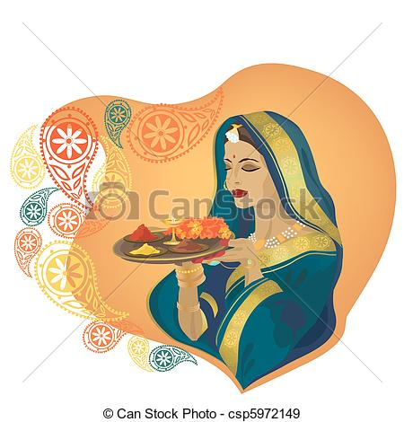 Traditional woman clipart picture library stock EPS Vectors of Indian girl - Beautiful Indian girl in traditional ... picture library stock