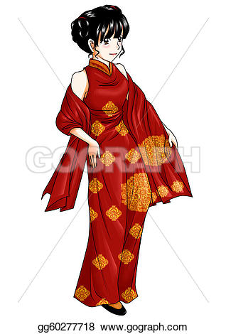 Traditional woman clipart svg freeuse download Stock Illustration - Chinese traditional costume. Clipart ... svg freeuse download