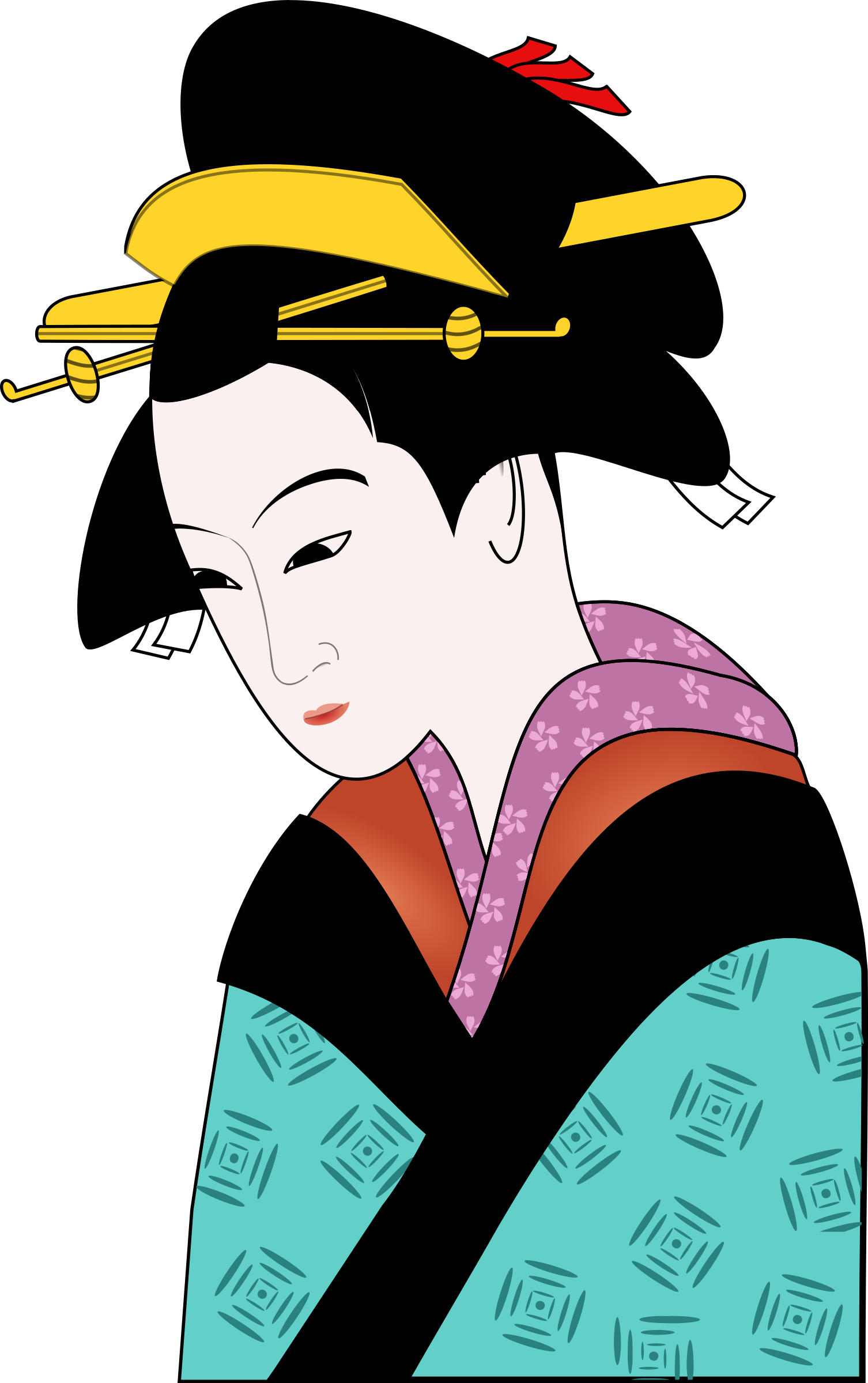 Traditional woman clipart free download Clipart - Woman in Kimono Simpler free download