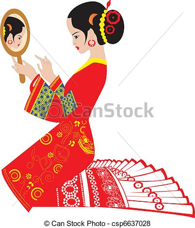 Traditional woman clipart banner free stock Vector of make-up for wedding - Traditional wedding - a chinese ... banner free stock