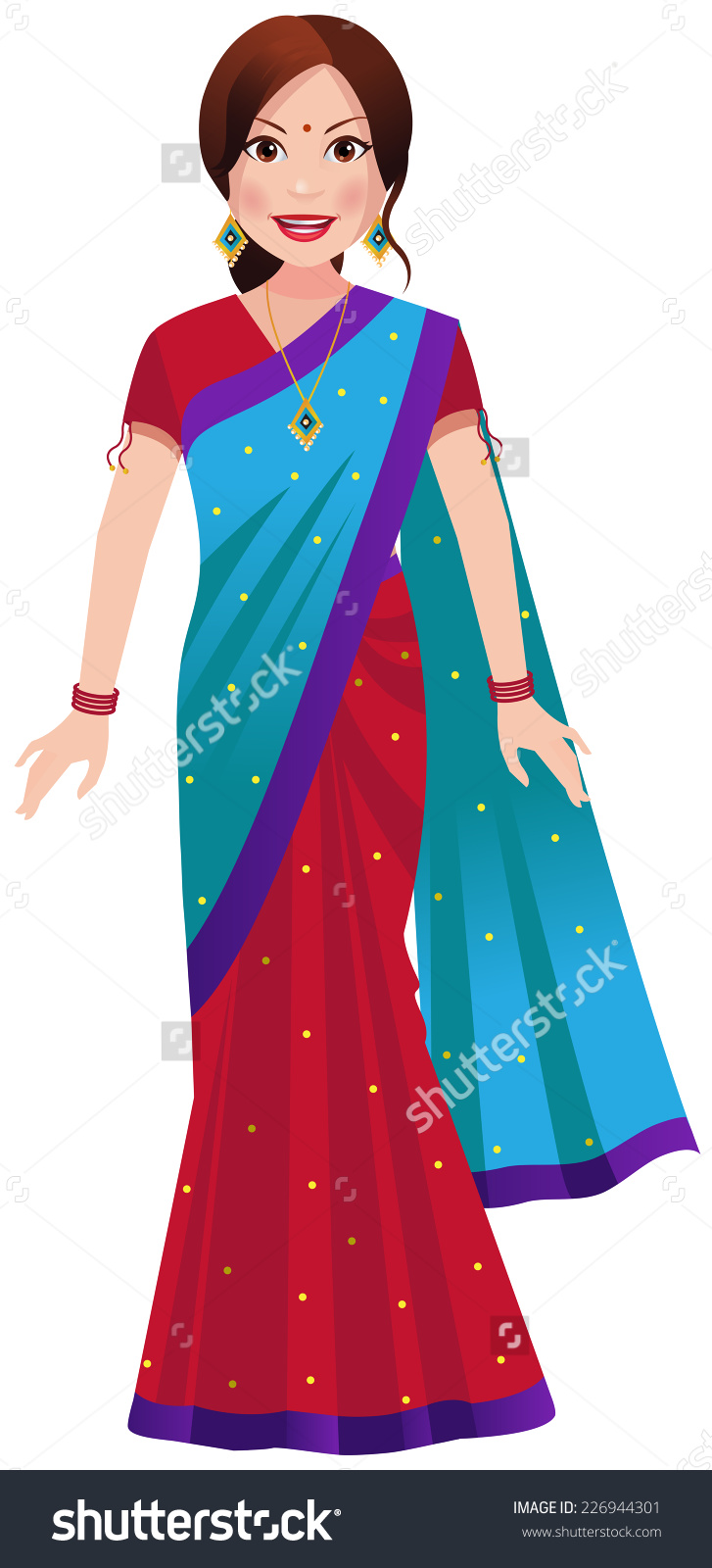 Traditional woman clipart vector black and white stock Indian Woman Standing Traditional Half Half Stock Vector 226944301 ... vector black and white stock