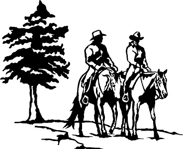 Horse trail riding clipart banner royalty free Decal - Trail Riders - Tree banner royalty free