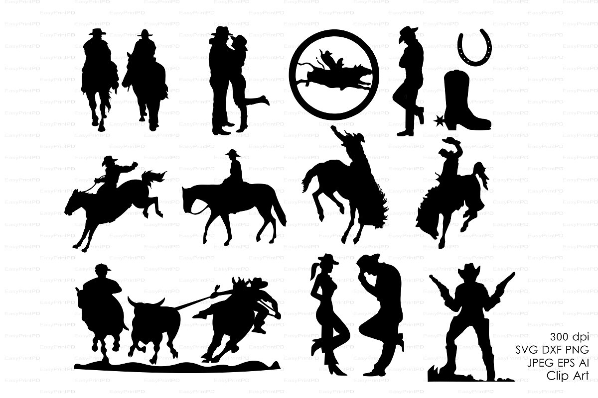 Trail horse cowboy and cowboy drawing clipart clip royalty free stock Cowboy Western Silhouettes Clip art clip royalty free stock