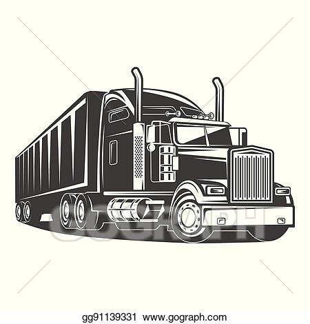 Trailer black clipart image library Vector Clipart - American truck trailer black and white ... image library