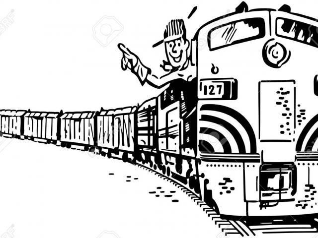 Train conductor clipart black and white picture black and white stock Train Conductor Drawing at PaintingValley.com | Explore ... picture black and white stock