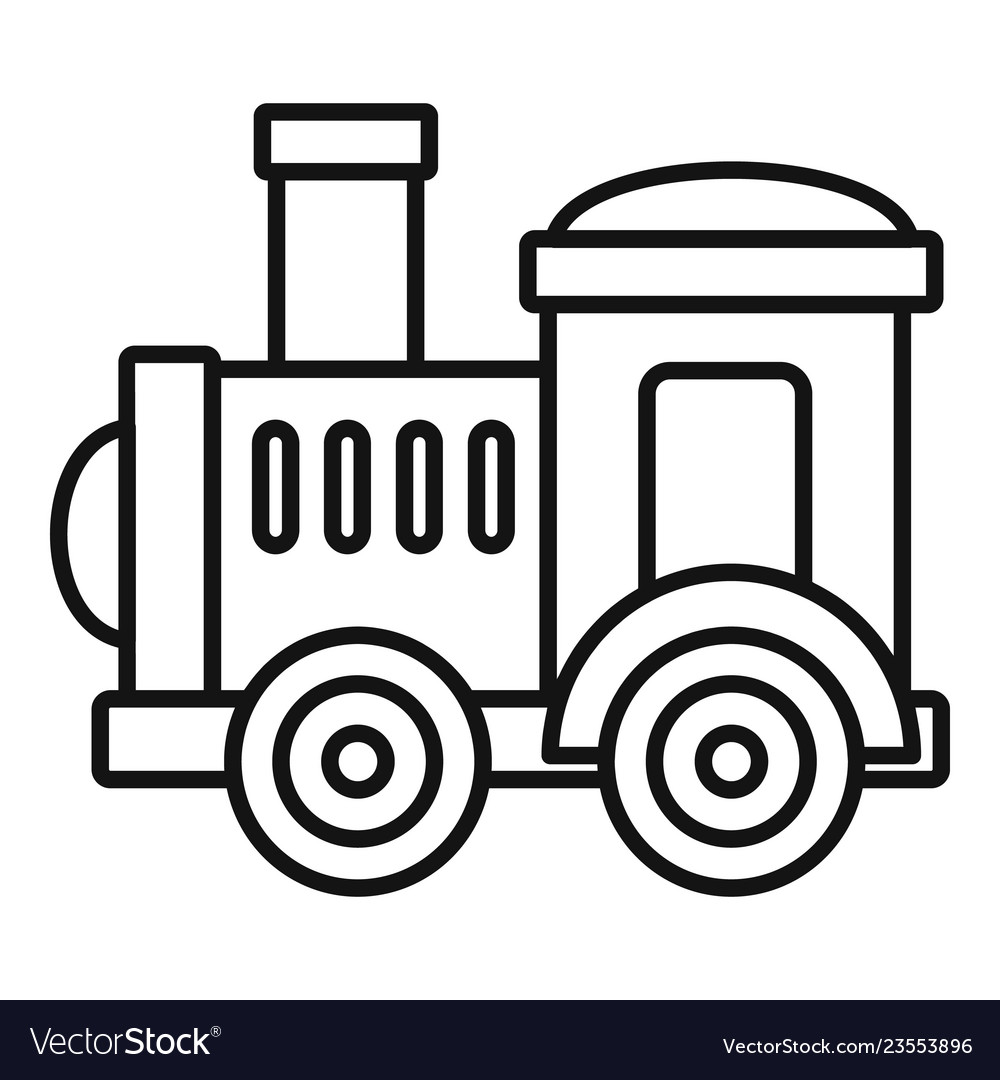 Train engine clipart outline image download Toy train icon outline style image download