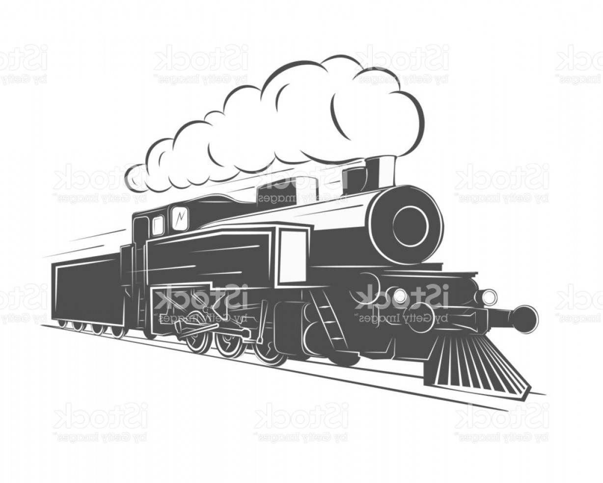 Train head on steam engine black and white clipart vector stock Vintage Steam Train Isolated On White Background Old Retro ... vector stock
