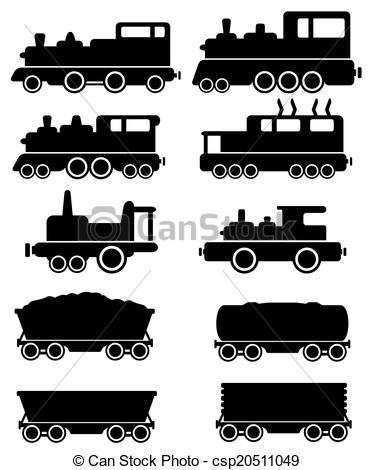 Train stock car clipart clip art free stock EPS Vector of set train and railroad car - set black train and ... clip art free stock