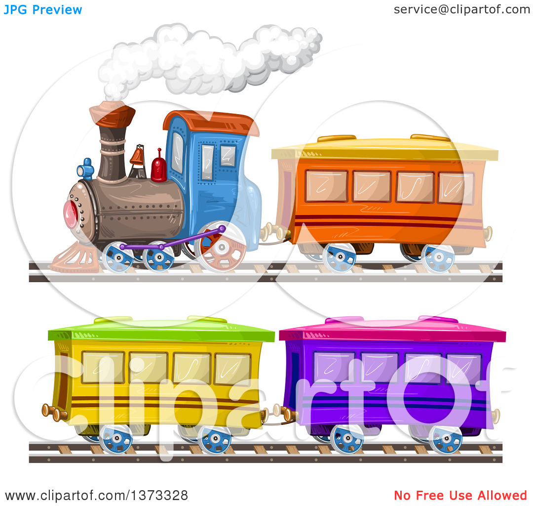 Train stock car clipart picture black and white download Clipart of a Steam Engine Train and Cars - Royalty Free Vector ... picture black and white download