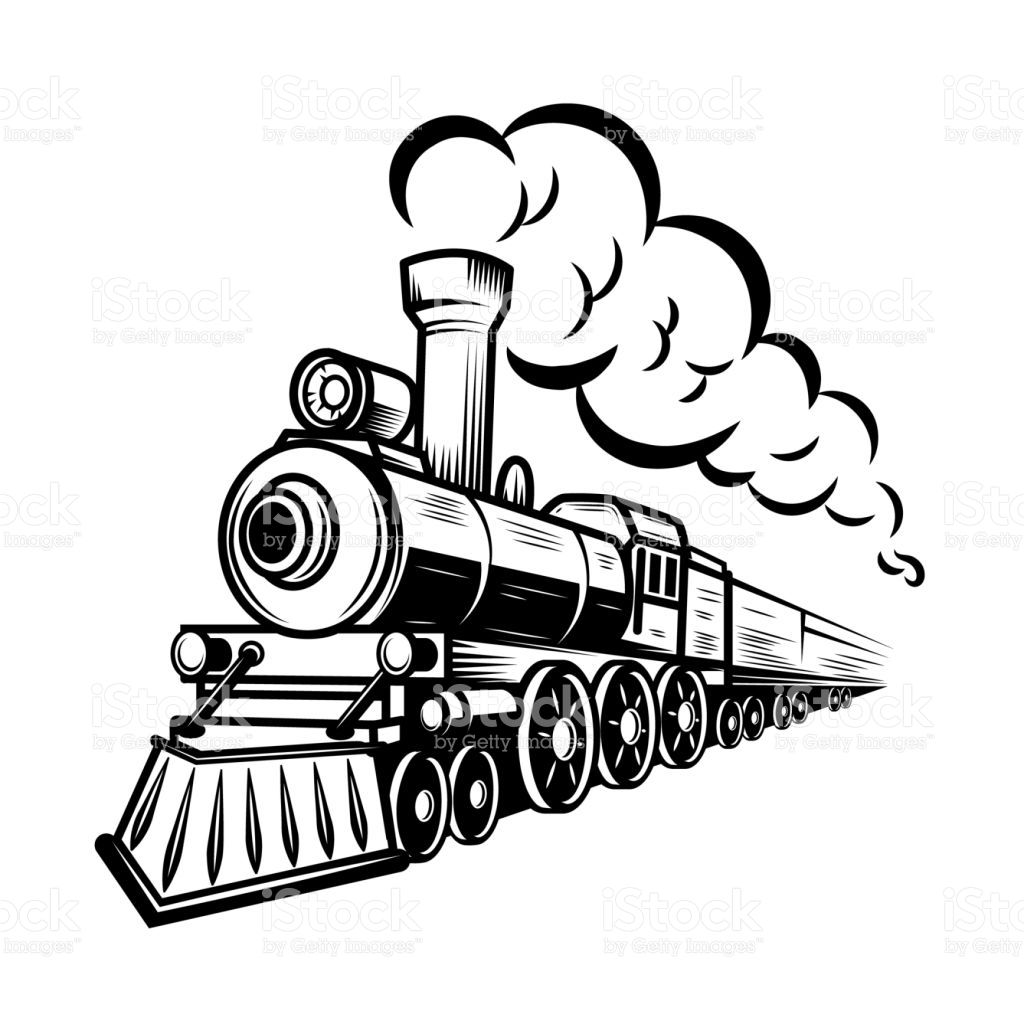Train tracks across mexico clipart vector transparent download Retro train illustration isolated on white background ... vector transparent download